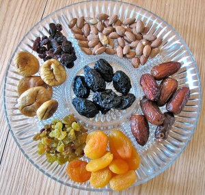 Dried fruit and almonds public domain from Wikipedia