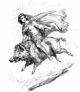 Freyr_riding_Gullinbursti public domain